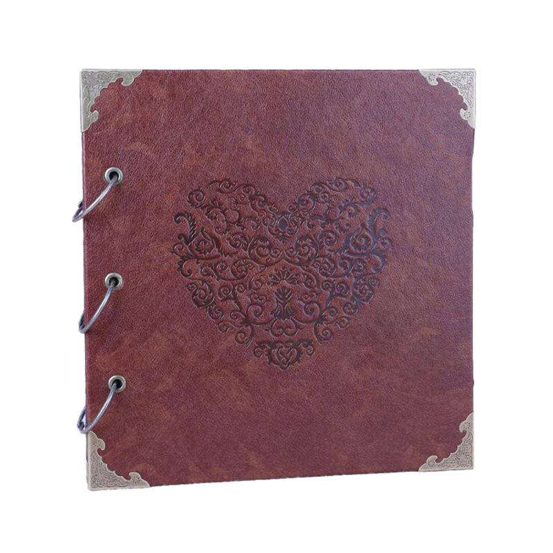 TOP!-16 Inch DIY Wedding Guest Book Heart-Shaped Leather Cover Scrapbook DIY Photo Album For Baby Wedding