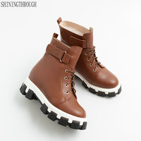 Genuine leather high heels platform Women ankle snow Boots lace up winter warm boots woman ladies Shoes large size 42 43