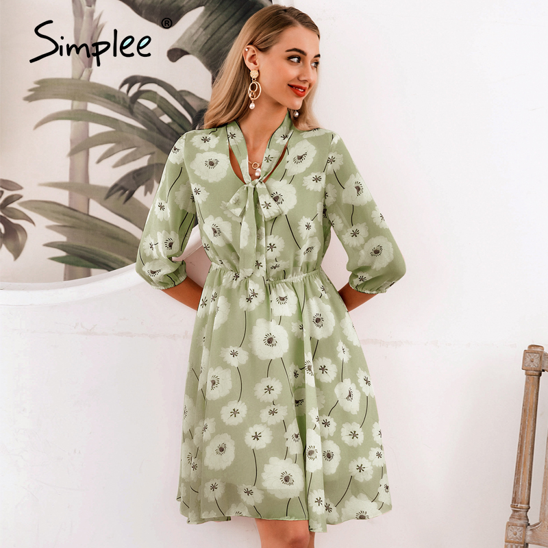 Simplee Elegant Women Floral Summer Dress High Waist Print Work Office Half Sleeve Lady Dresses Vintage Spring Chic Party Dress