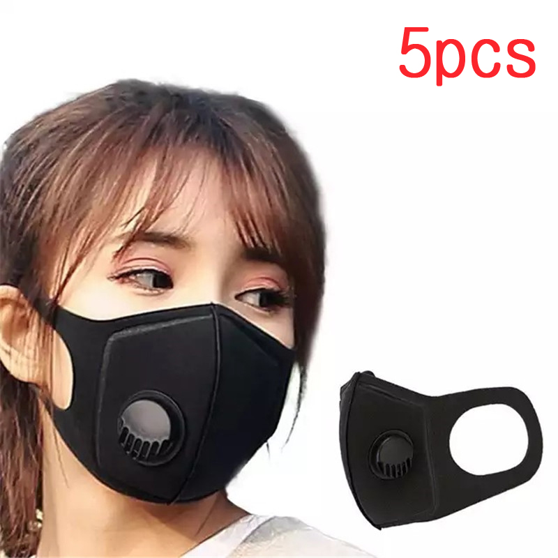 5pc Black Breathable Face Mask Anti PM2.5 Pollution Mask Unisex Anti Dust 3D Mouth Cover Mask FFP2 Filter Washable Reusable Mask