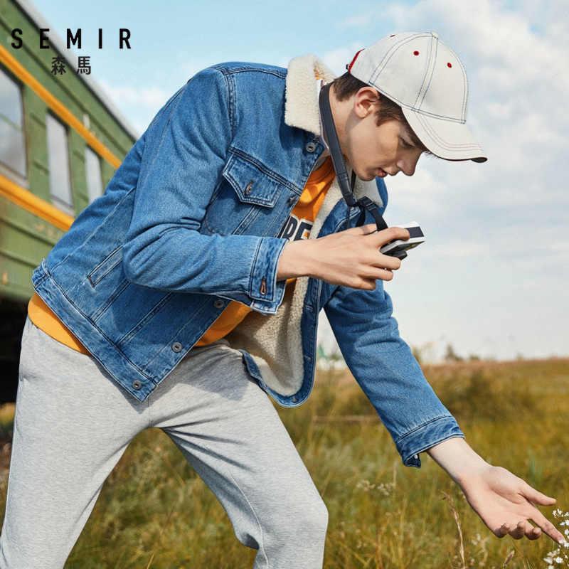 Semir Plus Fluwelen Denim Jasje Mannen Lente En Herfst 2019 Mode Verdikking Mannen Koreaanse Trend Denim Kleding Imitatie Lam Haar