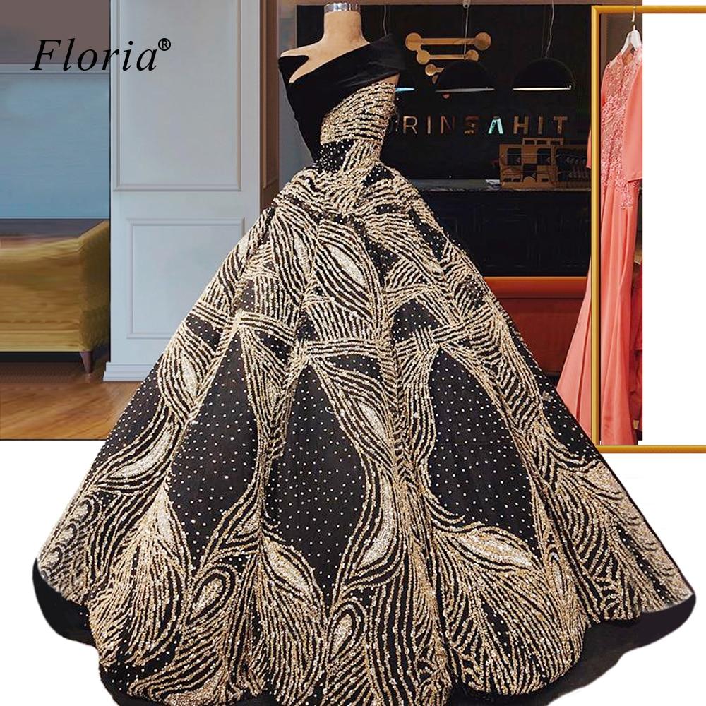Dubai Muslim Glitter Prom Dresses A Line Gold Gorgeous Vestidos De Fiesta De Noche Arabic Evening Gowns Party 2020 CustomizeProm Dresses   -