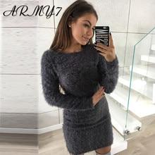Зимнее женское теплое трикотажное платье, флисовое облегающее платье-свитер с длинным рукавом, Бандажное теплое домашнее платье, черное, розовое, Vestido