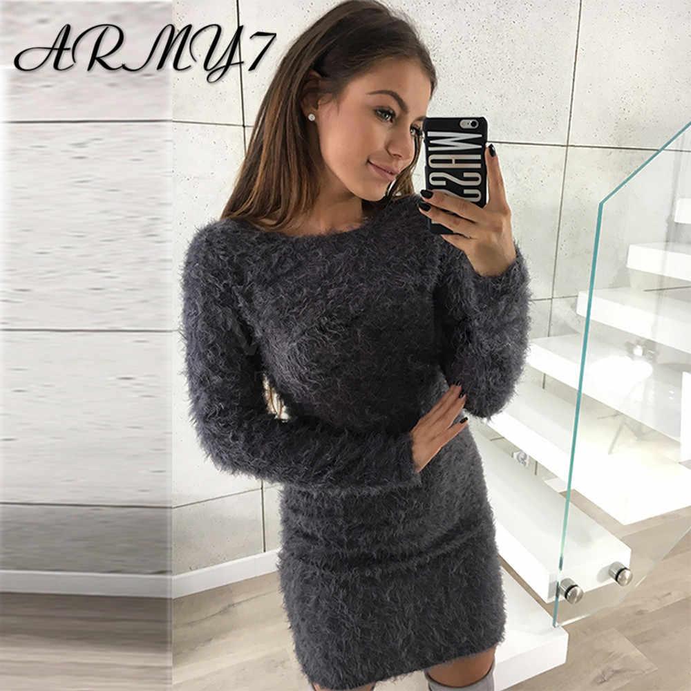 Hiver Femmes Chaud Robe Tricotee Polaire Enveloppe Moulante Robe Pull A Manches Longues Pansement Plus Chaud Maison Robe Noir Rose Vestido Aliexpress