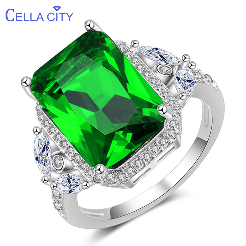 Cellacity Luxury Geometry Silver 925 Jewelry Rectangle Gemstones Ring For Women Emerald Zircon Green Finger Ornaments Wholesale