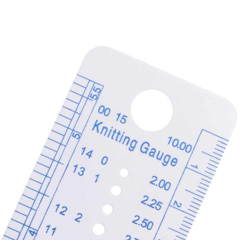 1PC Kintting Gauge Penguasa Mengukur Alat Plastik Biru Line Soft Kuat Tahan Lama