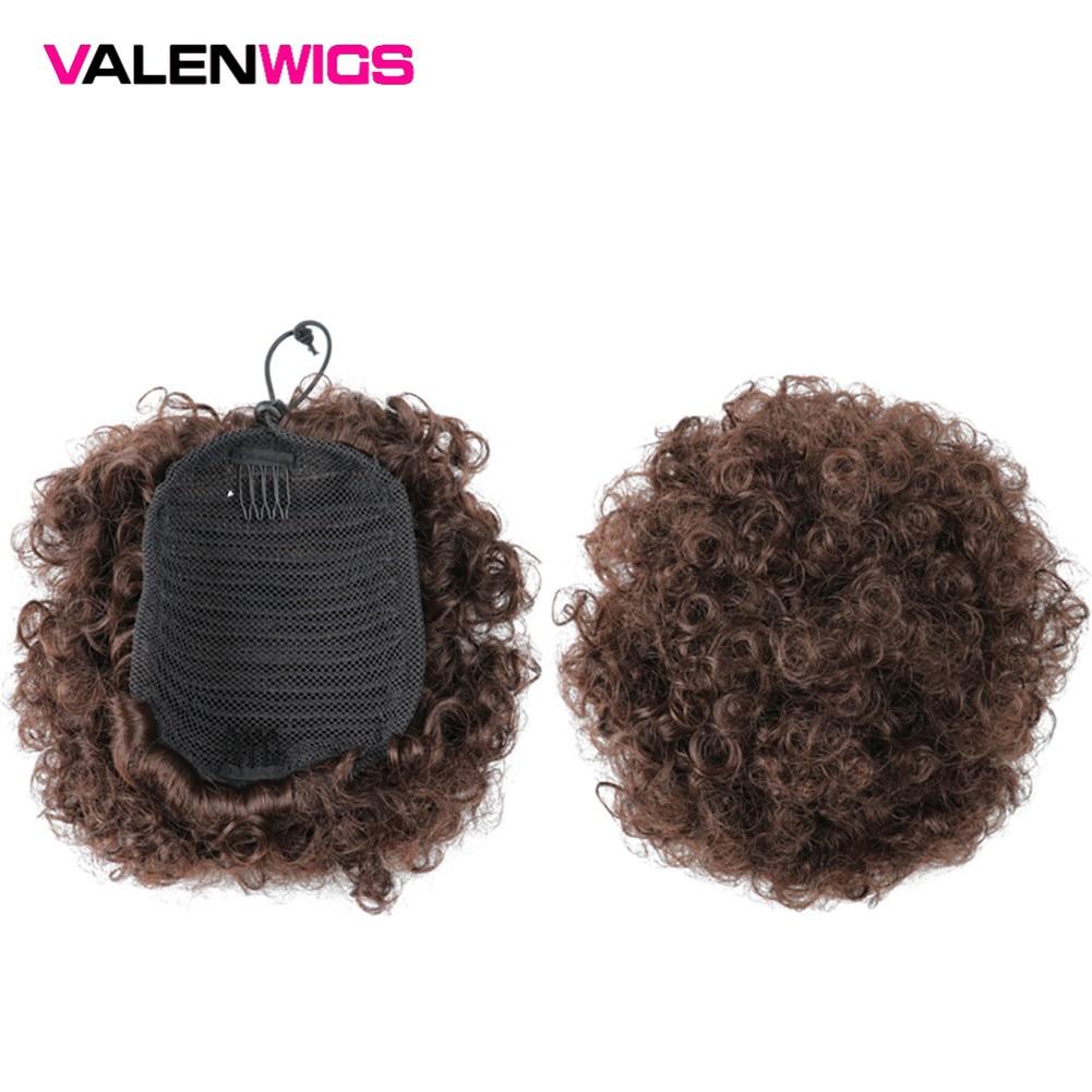 Valenwigs Sopro Afro Crespo Curto Encaracolado Cabelo Chignon Bun Cordão Em 15 Cores Para Preto Peruca Rabo de Cavalo Sintético Com Clips