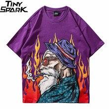 夏 2019 tシャツストリート原宿日本老人tシャツヒップホップ日本スタイルtシャツ漫画のヒップホップは、tシャツの綿