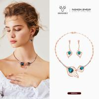 Viennois New Rose Gold Color Crystal Rhinestone Jewelry Set For women Geometric Necklace Drop Earrings Party Jewelry