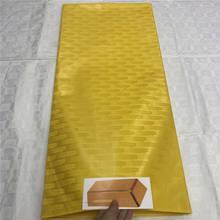 Парча жаккардовая ткань желтый Базен riche ткань Африканская кружевная ткань атику для menbasin riche bazin riche высокое качество 4 ярда