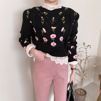 Fashion Hollow Out Floral Embroidery Black Sweater Women Korean O Neck Long Sleeve Knitted Pullover High Quality Autumn Knitwear 2020 elegant knitted sweater dress women korean causal autumn spring hollow out long sleeve loose pullover long dress black