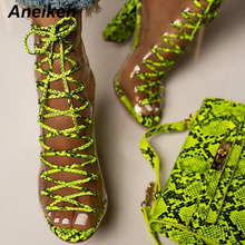 Aneikeh New 2020 Novelty PVC Women Boots Serpentine Transparent Peep Toe Lace-Up Shoes