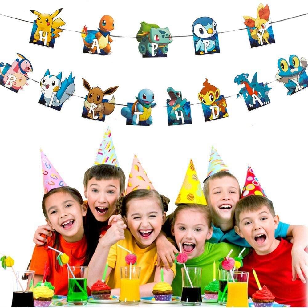 Мультипликационного героя Покемон го Пикачу баннер на день рождения торт украшения фигурки жениха и невесты; Для кексов для детей на дни ро...