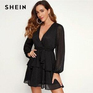 Image 4 - SHEIN vestido de punto suizo para mujer, Vestido corto morado con dobladillo de doble capa y escote en V profundo, vestido Sexy con manga de obispo para otoño 2019