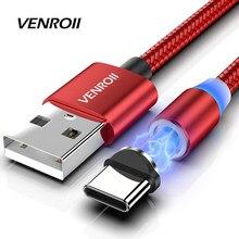 Venroii magnético usb micro cabo tipo c cabo de carregamento ímã carregador fio para xiaomi mi 10 9 USB-C cabo do telefone para samsung huawei