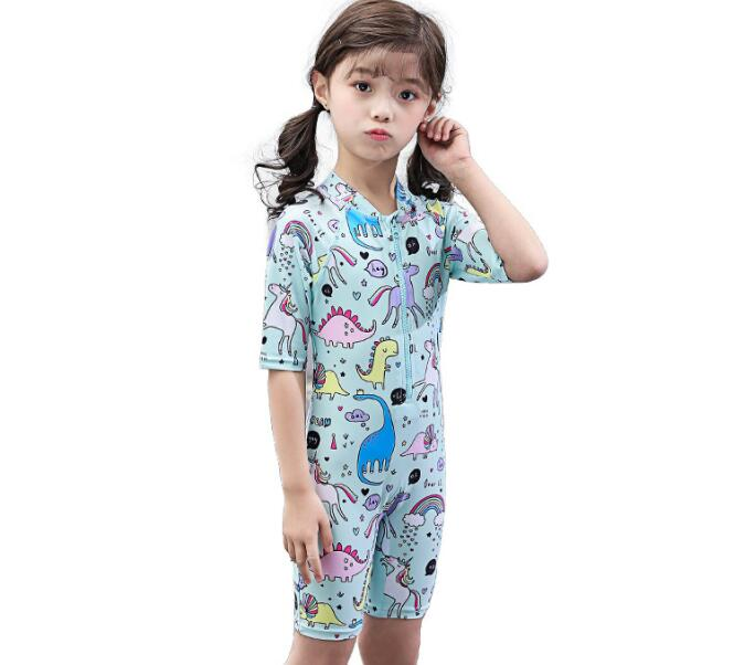 Wholesale Children's one-piece swimsuit Sun-proof Surfing swimwear with swimming cap