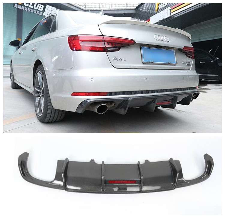 Carbon Fiber Car Bumper Front Lip+wind knife +<font><b>Rear</b></font> <font><b>Diffuser</b></font> Protector Cover Fits For <font><b>AUDI</b></font> A4 A4L B9 <font><b>2016</b></font> 2017 2018 2019 image