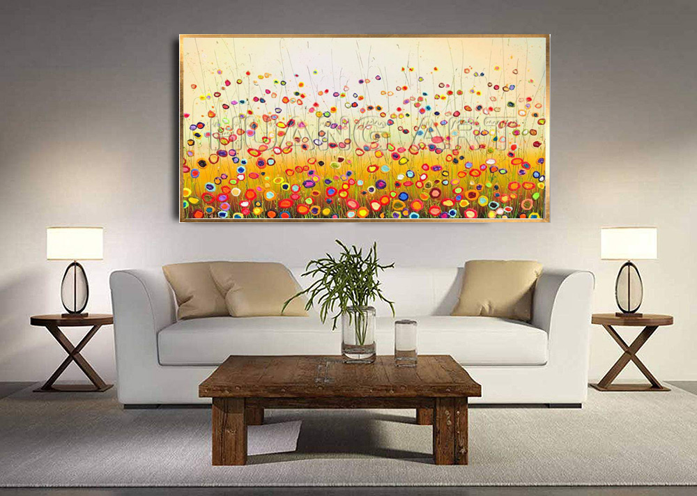 Wholesale High Quality Abstract Colorful Circle Flower Landscape Oil Painting for Living Room Decor Handmade Canvas Painting in Painting Calligraphy from Home Garden