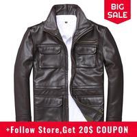 2020 Brown Men Smart Casual Leather Jacket Four Pockets Plus Size XXXXL Genuine Cowhide Russian Autumn M65 Leather Coat