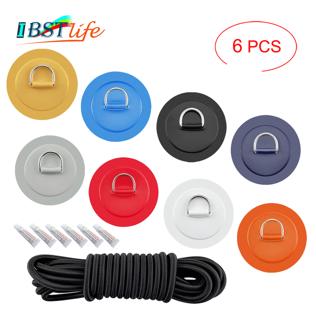 6PCS/lot Surfboard Dinghy Boat PVC Patch With Stainless Steel D Ring Deck Rigging Sup Round Ring Pad 5m Elastic Bungee Rope Kit
