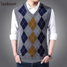 Модный брендовый свитер без рукавов, мужской пуловер, жилет с v-образным вырезом, Облегающие джемперы, вязаные узоры, осенняя повседневная одежда для мужчин