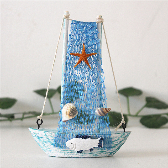 15cm Mediterranean Style Marine Nautical Wooden Blue Sailing Boat Ship Wood Crafts Ornaments Party Room Home Decoration 3