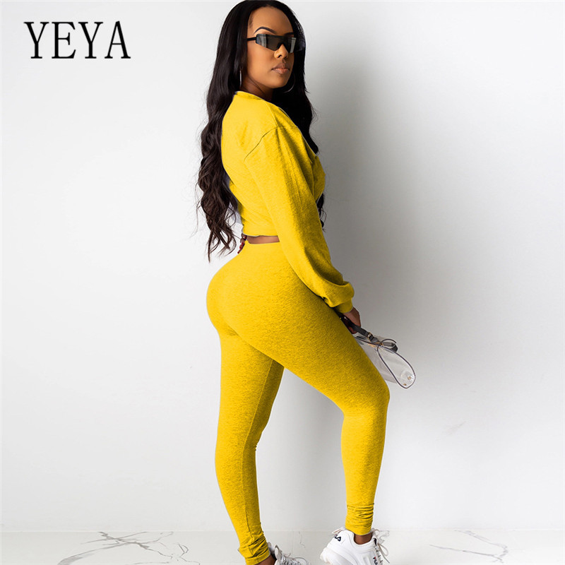 YEYA Jumpsuits Two Pieces Sets Bodycon Long Sleeve Clubwear Playsuits Eelgant O-neck Casual Rompers Skinny Sexy Jumpsuits Female