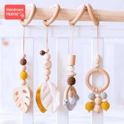 1 conjunto de animais pingente de madeira do bebê jogar ginásio bpa livre grau alimentício mordedor de madeira brinquedos interativos presente do nascimento do bebê brinquedos em branco de madeira