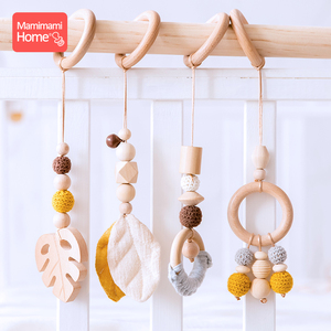 1set Animals Wooden Pendant Baby Play Gym BPA Free Food Grade Wooden Teether Toys Interactive Baby Birth Gift Wooden Blank Toys