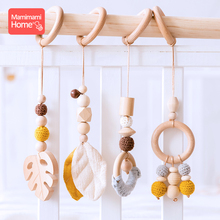 4pc/set Baby Wooden Pendant Play Gym Toys BPA Free Wooden Teether Rodent Animal Interactive Stroller Hanging Bed Bell Nurse Gift