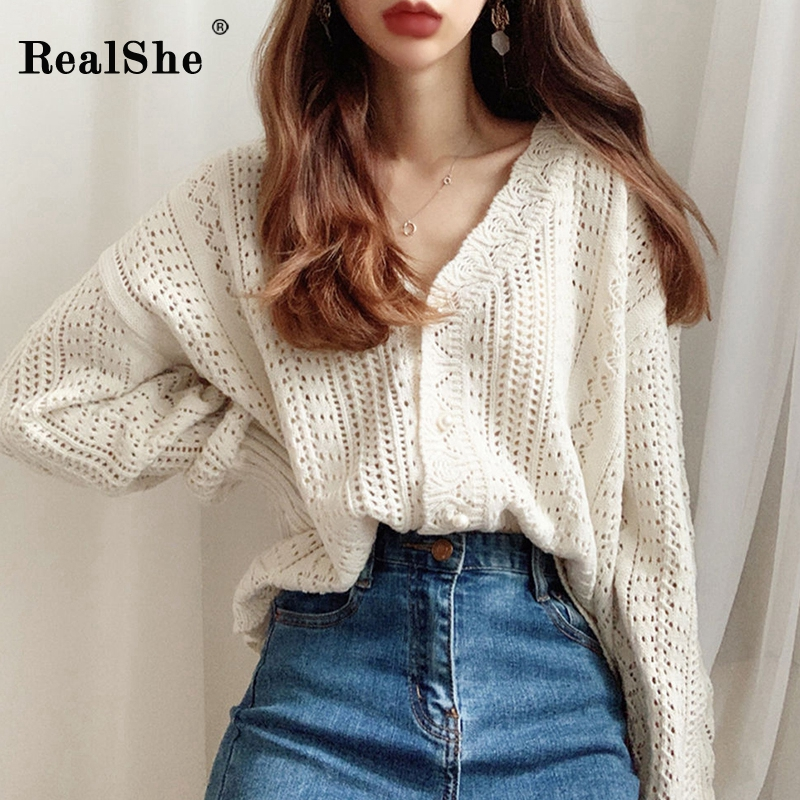 RealShe Sweters Cardigan For Women V-neck Hollow Out Solid Women Cardigan 2020 Spring Autumn Casual Short Cashmere Sweater Women