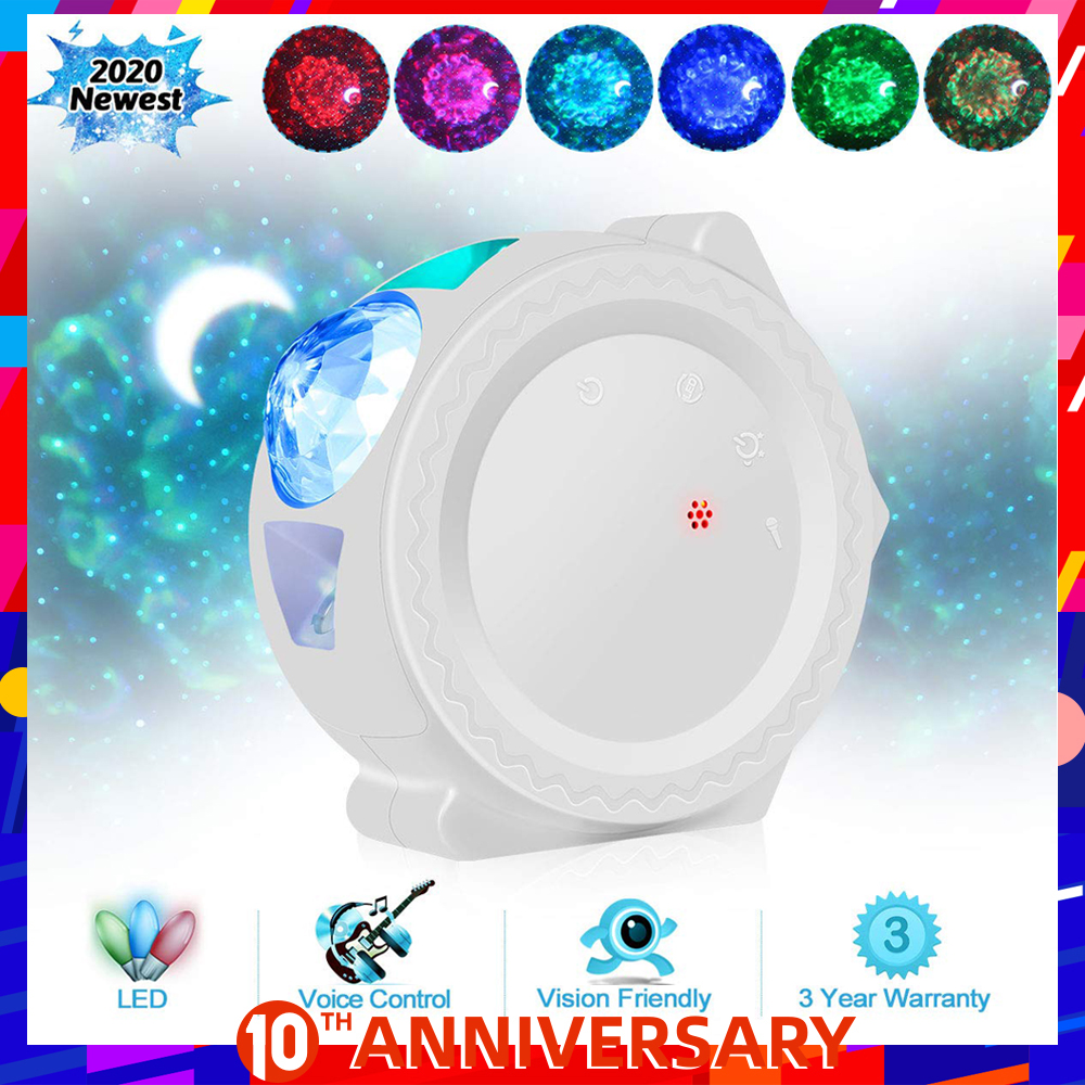 Galaxy Projector Starry Sky Lamp LED Nebula Cloud Night Light 6 Colors Water Waving Lights With Voice Control Moon Lamp For Kids