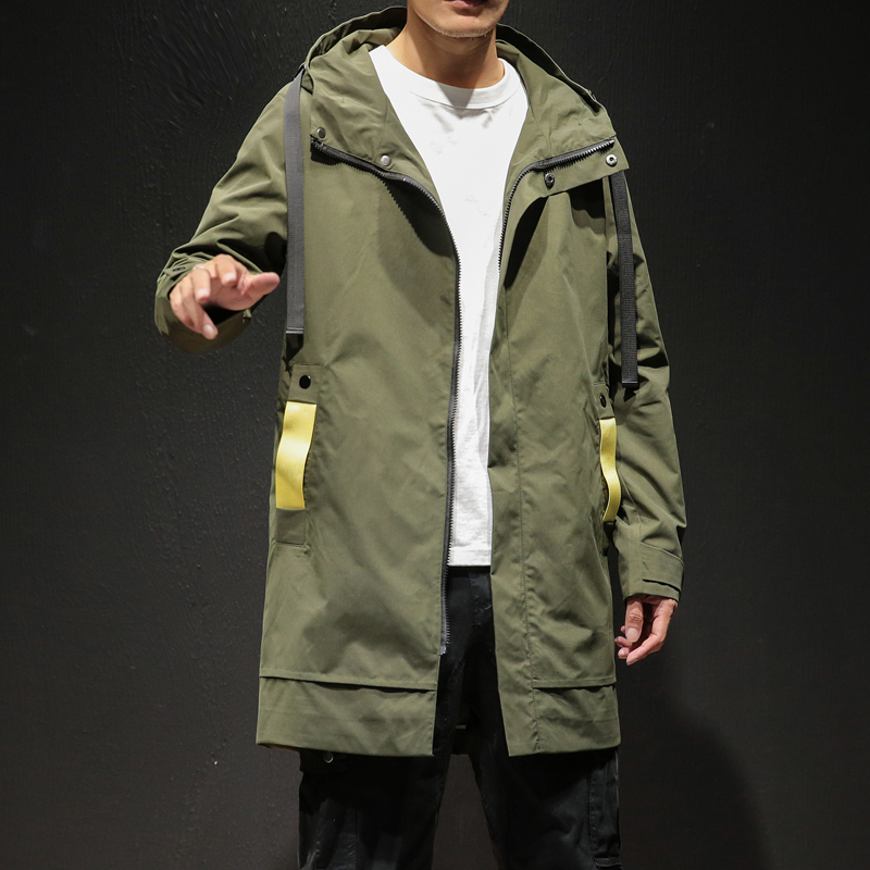 2019 Casual Mens Windbreaker Jackets Long   Trench   Coat For Men Spring Autumn Winter Clothes