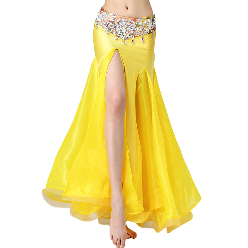 Yellow Belly Dance Skirts For Women Luxurious Bellydance Skirts(Without Belt) Oriental Belly Dance Costumes Skirt 2019