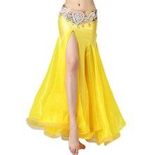 Żółte spódnice do tańca brzucha dla kobiet luksusowe spódnice do tańca brzucha (bez paska) orientalne stroje do tańca brzucha spódnica 2019