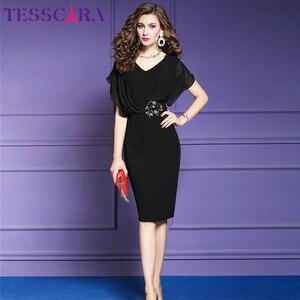 Image 2 - TESSCARA elegante vestido de oficina de verano para mujer, moda femenina, vestido de fiesta tipo lápiz, Estilo Vintage, de gasa, diseño Imperio