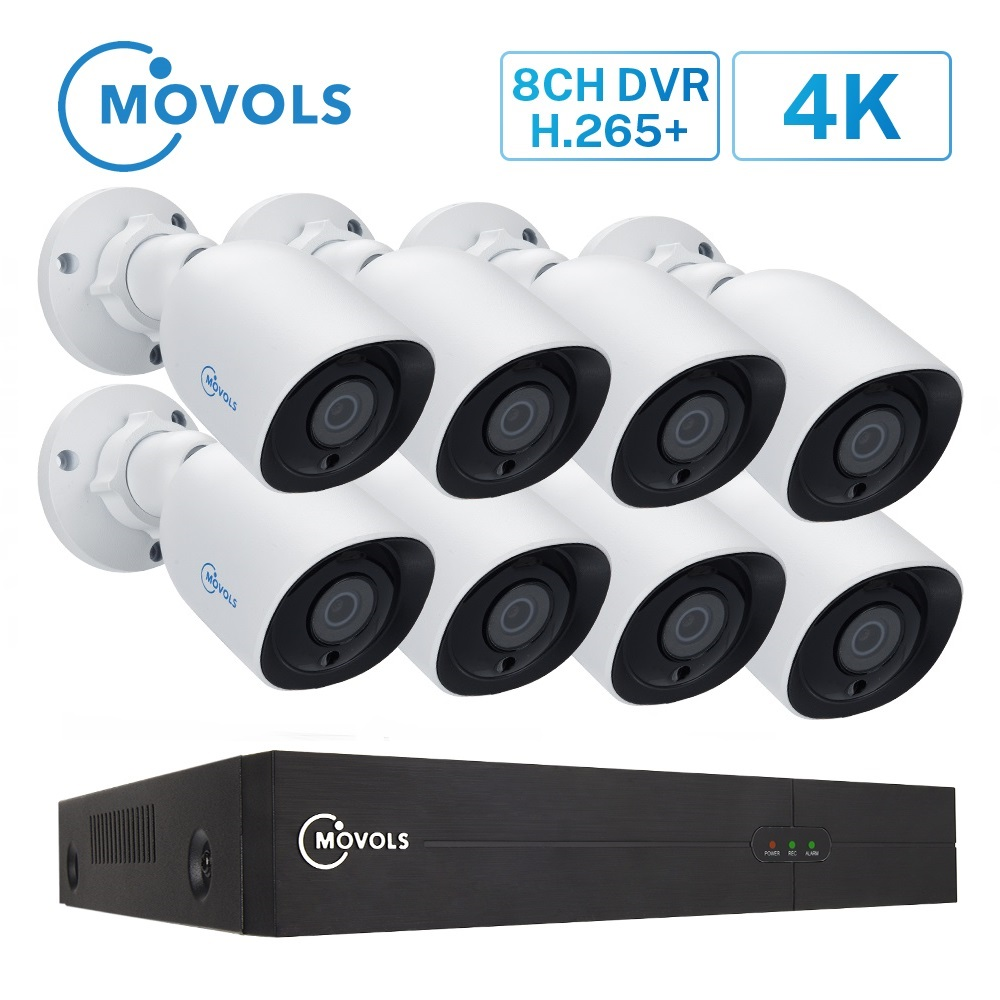 MOVOLS 4K Ultra HD <font><b>Video</b></font> Überwachung System 8CH H.265 <font><b>DVR</b></font> 8MP 8PCS Sicherheit Kamera System IR Nacht Vision wasserdicht CCTV Kit image