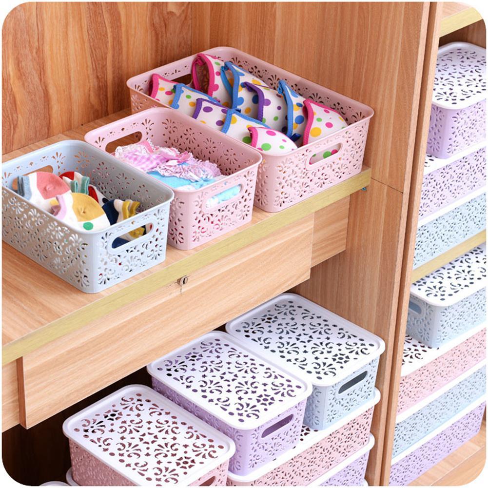 Home Desktop Hollow Storage Basket  Creative Plastic Underwear Storage Box Kitchen  Organizer Clothes Toys Storage Container