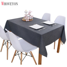 WHOVEYON Solid Color Linen Tablecloth Kitchen Table Waterproof Oilproof Tablecloth Thick Rectangular Table Cover Tea Table Cloth