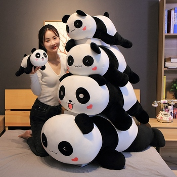 цена Huggable New Cute Big Panda Plush Toy Soft Stuffed Cartoon Animals Bear Doll Birthday Christmas Gift Sofa Pillow Cushion онлайн в 2017 году