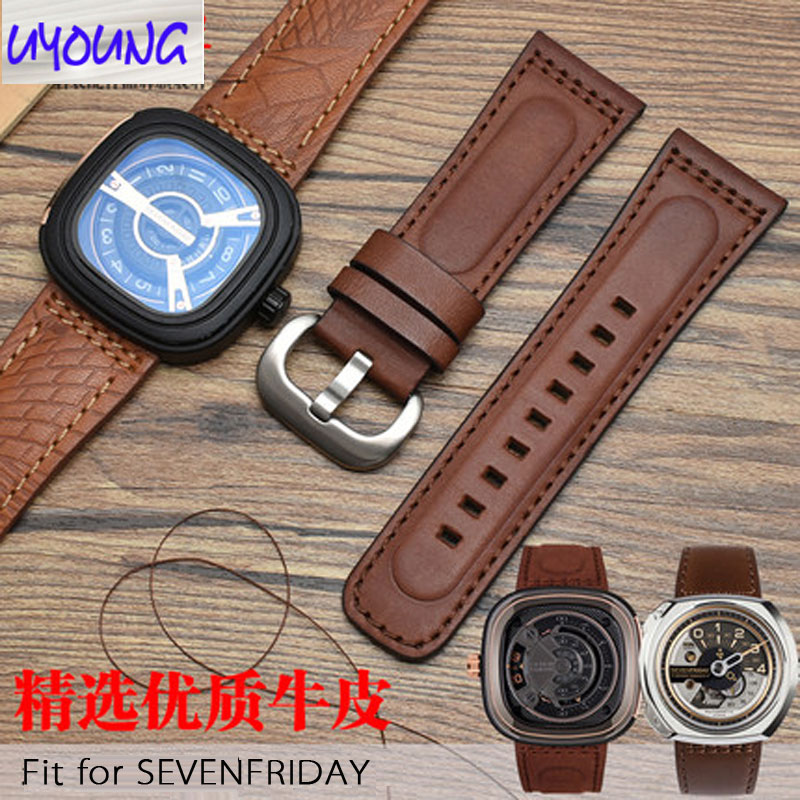 Watch Belt Genuine Leather Adapted To SEVENFRIDAY Seven Friday P1/P2/P3/S2/M2B Original Models Style  28mm  Strap