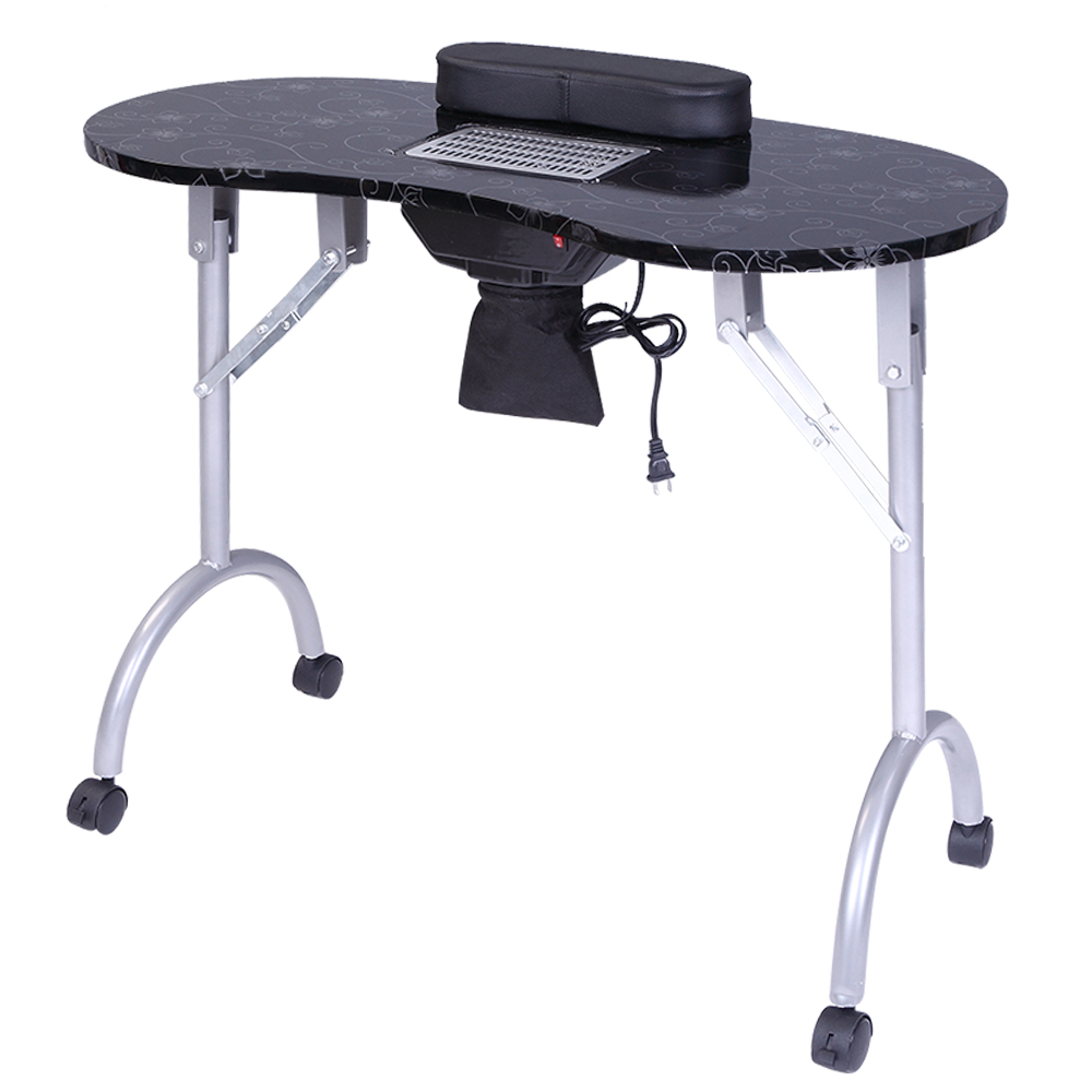 Profession Manicure Table Spa Beauty Salon Equipment Desk With Dust Collector & Cushion & Fan Black