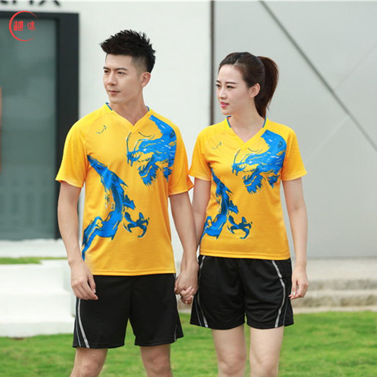 New Style 2019 New Style Sports Set Men And Women-Badminton Clothing Couple Clothes Training Racing Suit Dragon Design Pattern R