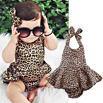 2020 letnie ubrania dla niemowląt noworodka dziewczynka ubrania Leopard body bez rękawów Playsuit kombinezon stroje Sunsuit tanie i dobre opinie Bigsweety CN (pochodzenie) Kobiet Poliester Moda 25-36m 3-6y 7-12m 13-24m Baby Girls Leopard Bodysuits Drukuj O-neck Pasuje prawda na wymiar weź swój normalny rozmiar
