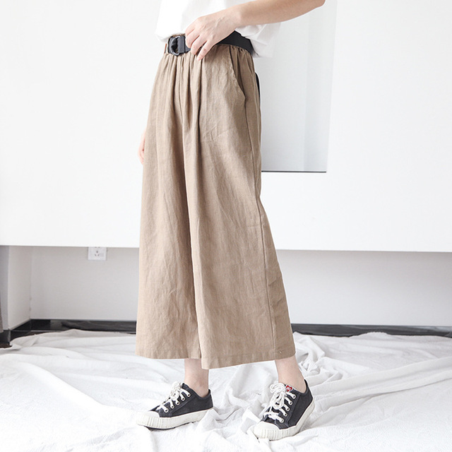 Johnature النساء بنطال ذو قصة أرجل واسعة جيوب مرونة الخصر 2020 الخريف جديد بلون القطن الكتان بنطلون عارضة النساء السراويل
