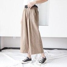 Johnature Frauen Breite Bein Hosen Taschen Elastische Taille 2020 Herbst Neue Feste Farbe Baumwolle Leinen Hosen Lässig Frauen Hosen