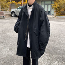 Windbreaker Jacket Trench-Coat Streetwear Korean Autumn Men's Fashion Casual Stand Long