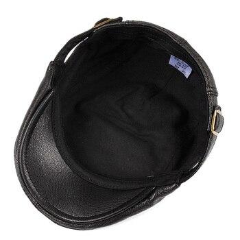 Hats Men Women Street Bonnet Genuine Leather Beret Male Thin Hats 55-61 cm Adjustable Forward Cap Leisure Duckbill Casquette 5