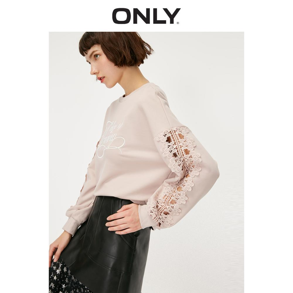 ONLY Women's Loose Fint Round Neckline Lace Splice Letter Embroidery Sweatshirt | 11919S587