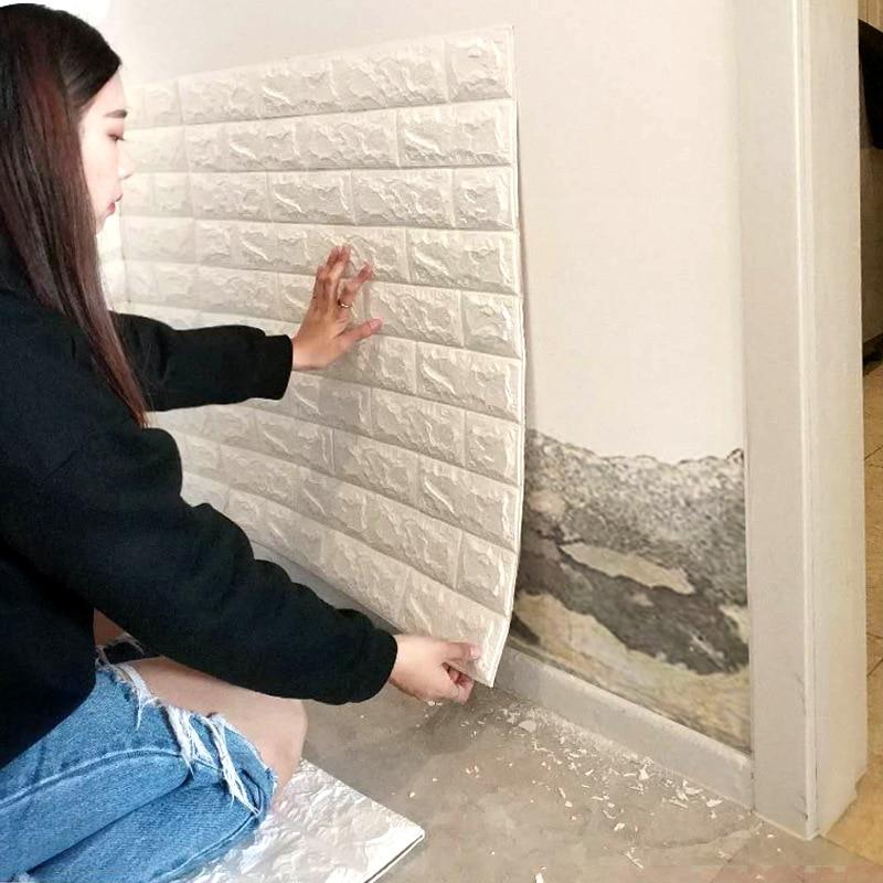 10 piezas 3D estereoscópica pegatina de pared Anti-colisión de ladrillo suave pared de ladrillo de espuma papel tapiz de renovación agua autoadhesiva